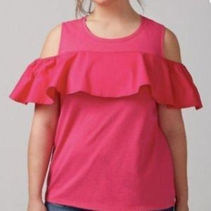 Lane Bryant Hot Pink Ruffle Cold Shoulder Blouse